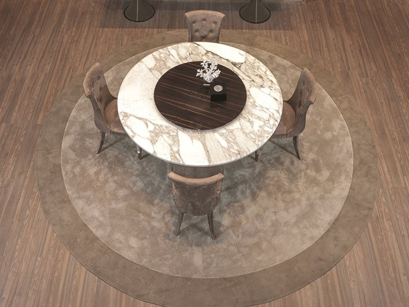 Round leather rug SYNTHETIC by Longhi