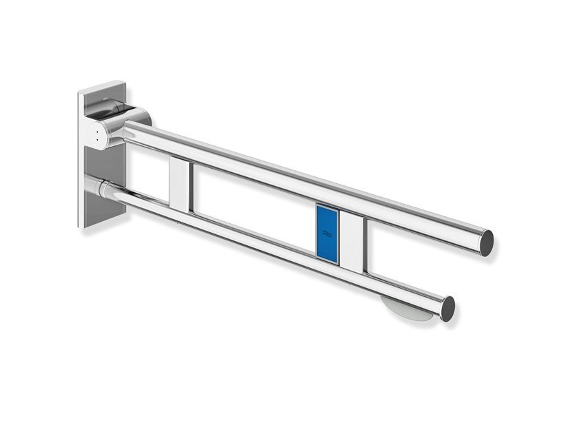 Folding stainless steel toilet grab bar SYSTEM 900   Toilet grab bar by HEWI