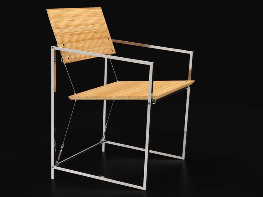 Sedia in acciaio e legno con braccioli SYSTEM XIX | Sedia by MOLTOMENO.DESIGN