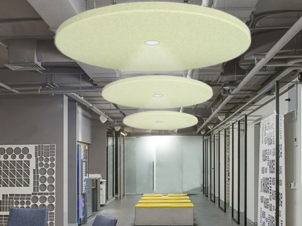 Fireproof polyester fibre acoustic ceiling clouds with Integrated Lighting T-FRAME | Acoustic ceiling clouds with Integrated Lighting by Slalom