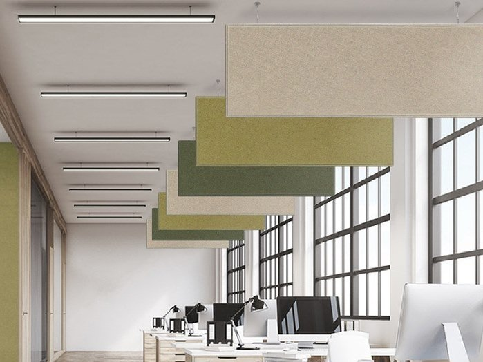 Polyester fibre acoustic baffles T-LIGHT BAFFLE by Slalom