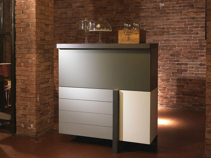 Lacquered elm highboard T-LINE   Highboard by Fimar
