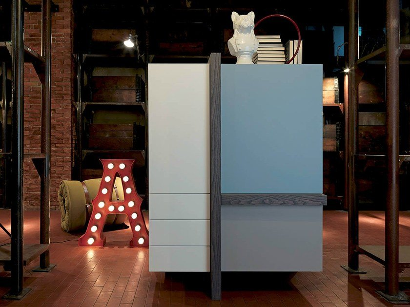 Lacquered elm highboard T-LINE   Lacquered highboard by Fimar