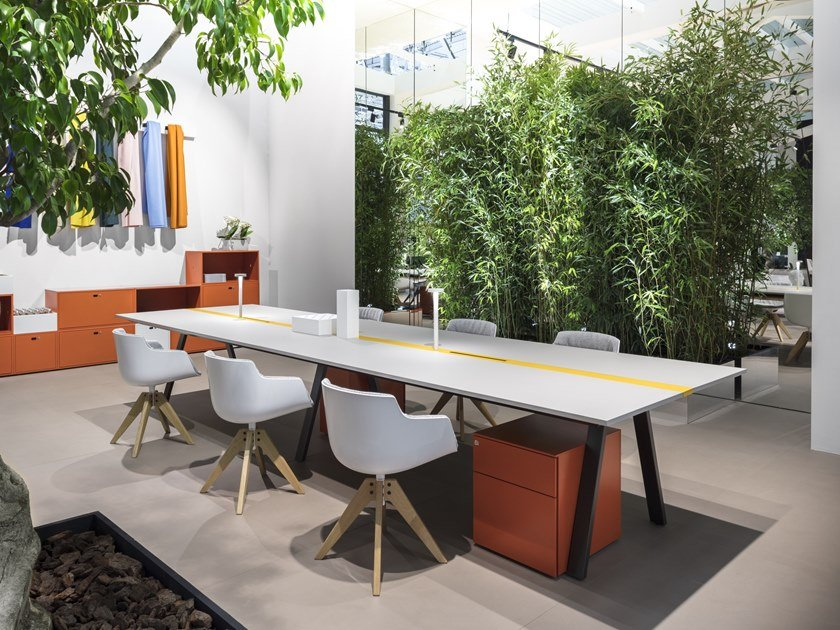 Rectangular meeting table with cable management T-SHARE by Dieffebi