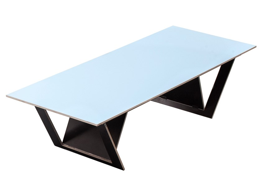 Lacquered rectangular plywood table TA TISCH | Lacquered table by Valerie_Objects