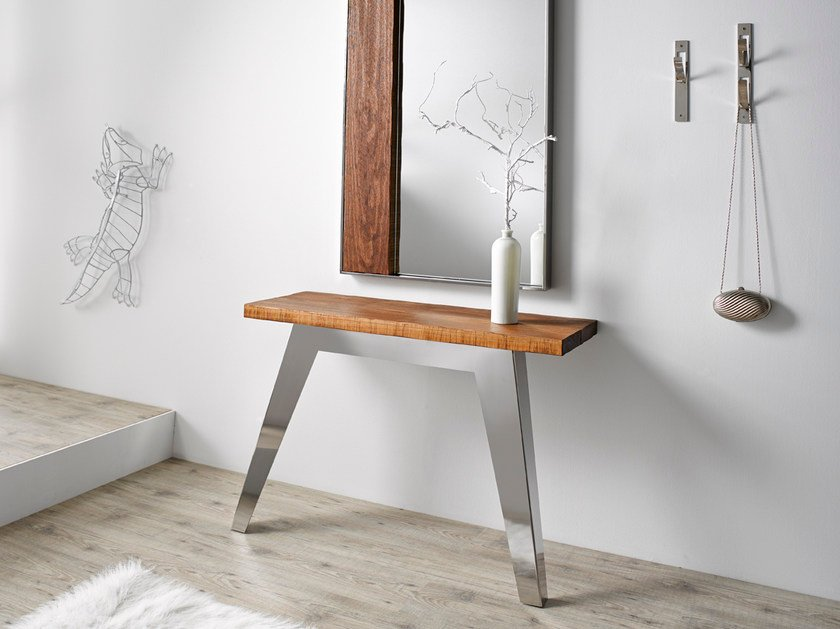 Rectangular stainless steel and wood console table NORDIC | Console table by Altinox