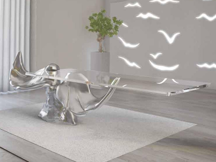 Rectangular glass and aluminium table LE ALI | Table by Boffetto