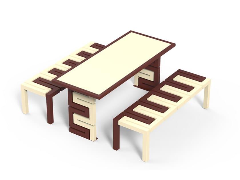 Tavolo per spazi pubblici rettangolare in acciaio zincato SNAKE   Tavolo per spazi pubblici by DIMCAR