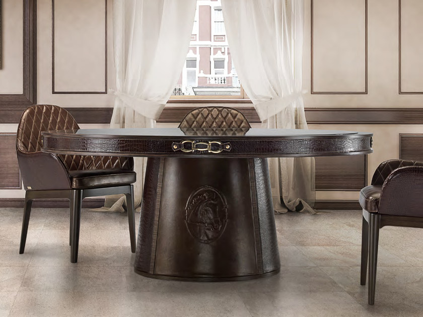 Round leather dining table MIHAELA   Table by Formitalia