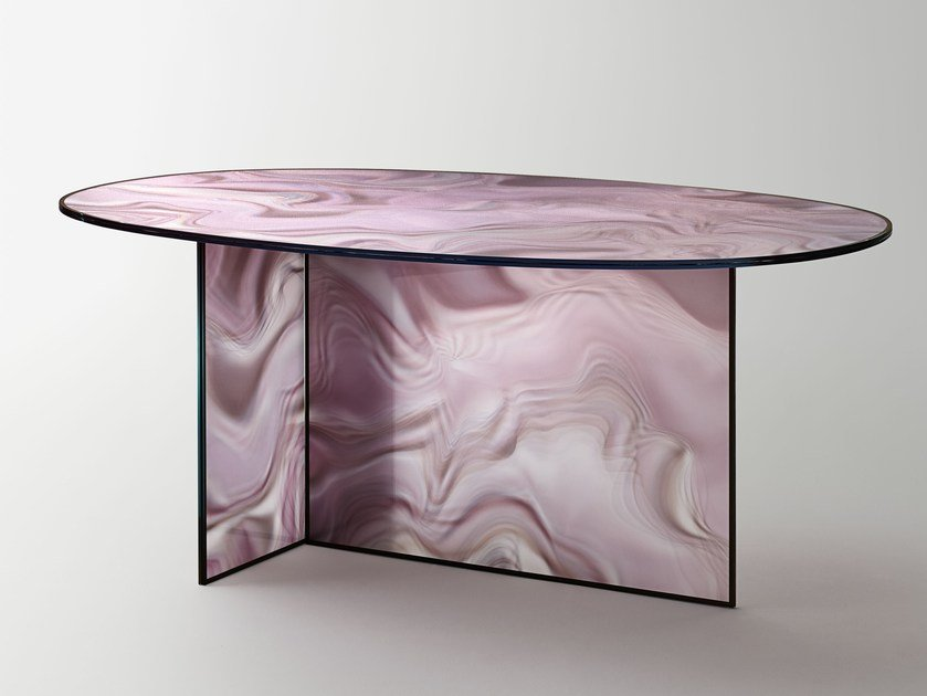 Oval crystal table LIQUEFY | Table by Glas Italia