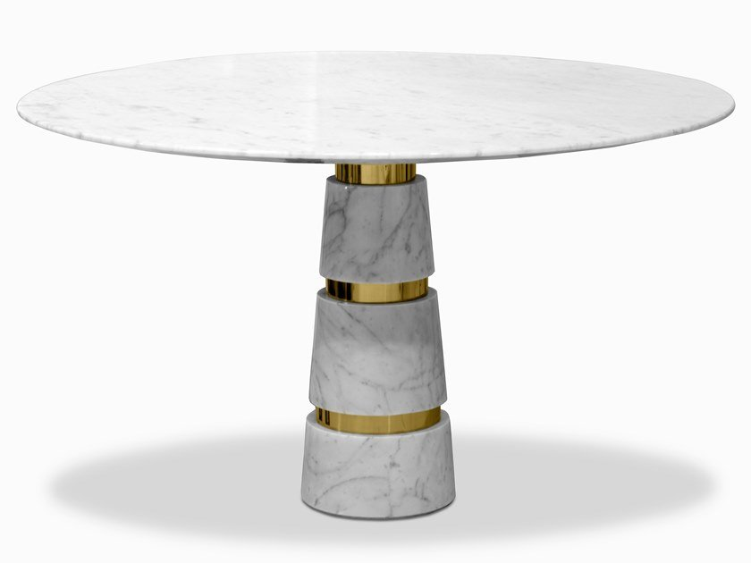 Round Carrara marble table AVALANCHE | Table by KOKET