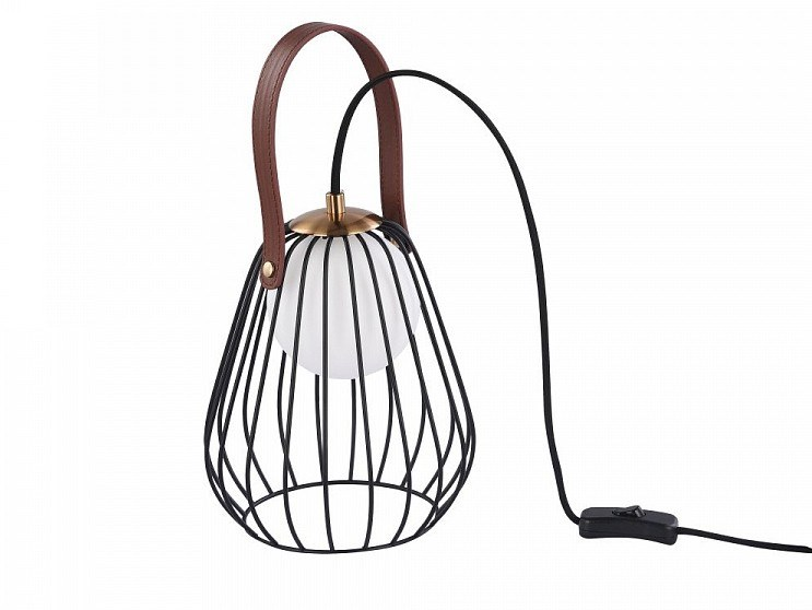 Leather and metal table lamp INDIANA | Table lamp by MAYTONI