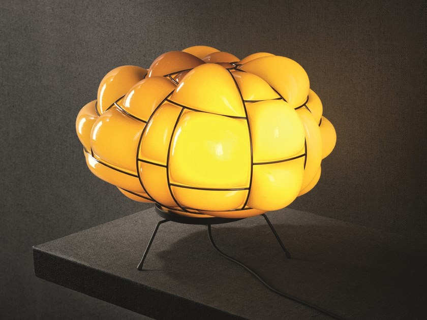 LED glass and steel table lamp EGG | Table lamp by Pallucco