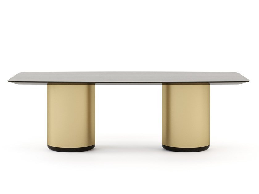 Rectangular brass and wooden dining table HER   Table by Stylish Club