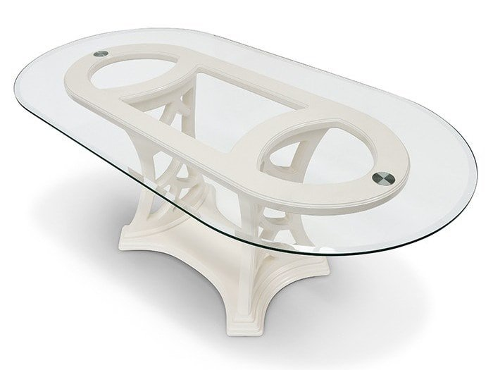 Oval wood and glass living room table MONTECARLO | Table by Marzorati