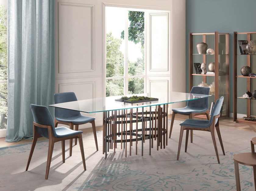 Wood and glass dining table TUBE | Table by Pacini & Cappellini