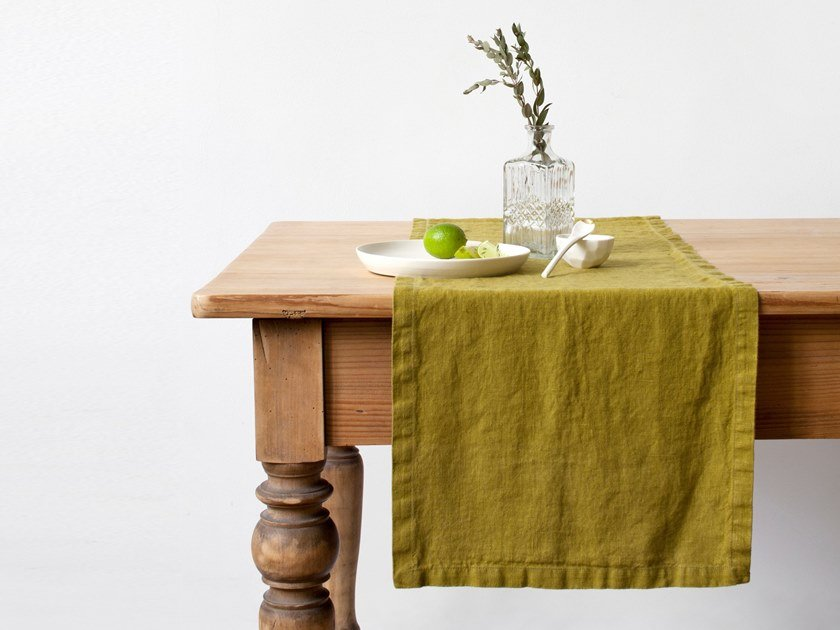 Washed linen table runner MOSS GREEN | Table runner by Linen Tales