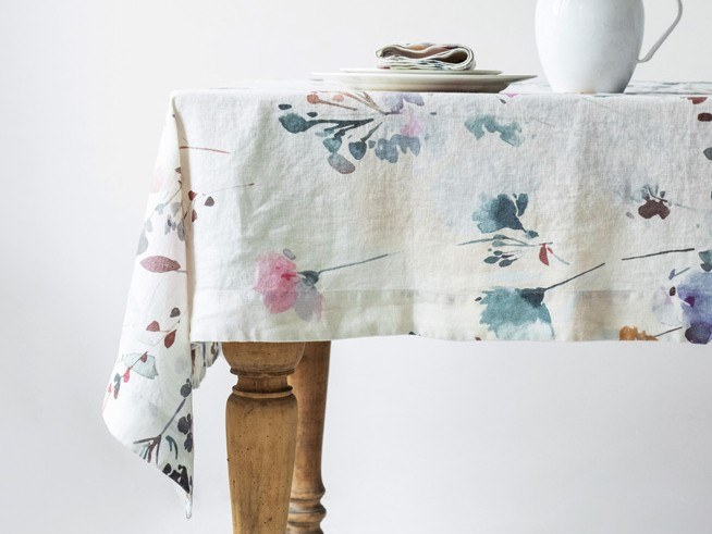 Linen tablecloth WATERCOLOR | Tablecloth by Linen Tales