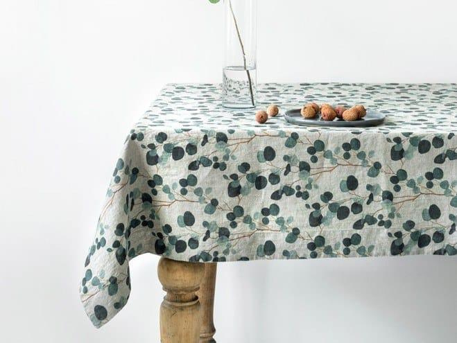 Linen tablecloth EUCALYPTUS | Tablecloth by Linen Tales