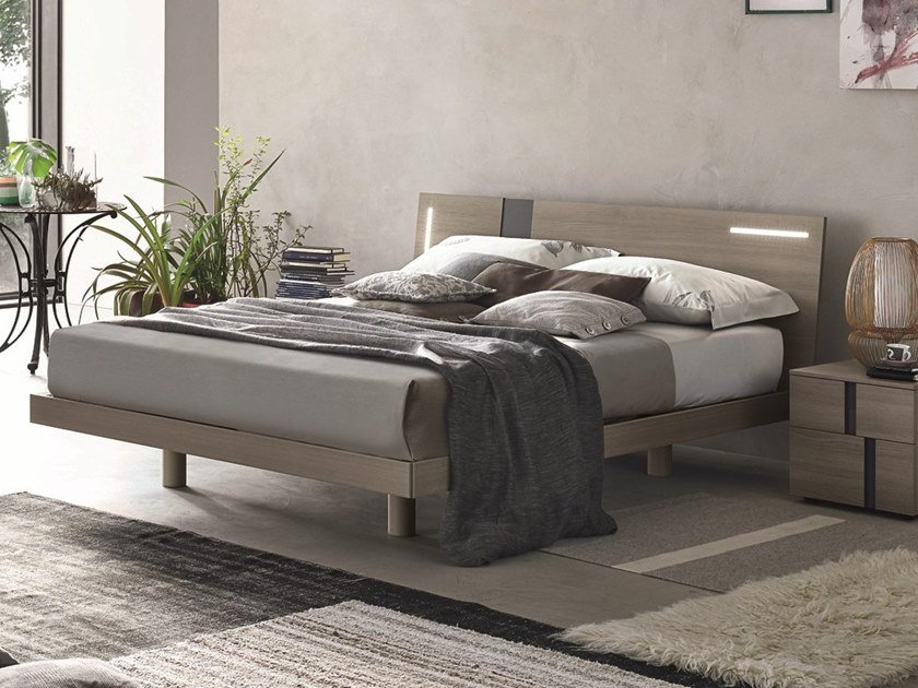 Ash double bed with integrated lighting TABLET | Ash bed by Gruppo Tomasella