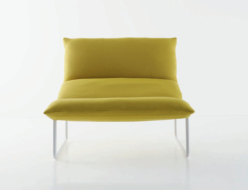 Sled base upholstered fabric armchair with removable cover TABOGA by arflex