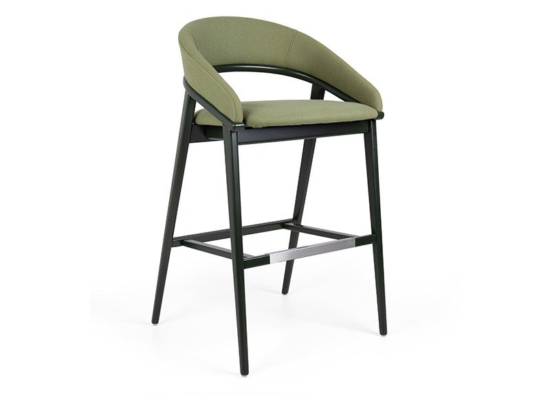 High upholstered stool with back TÁGADA EST BAR by Fenabel