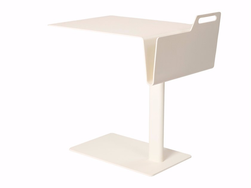 Powder coated steel side table with integrated magazine rack TAIL FOLDED by Palau