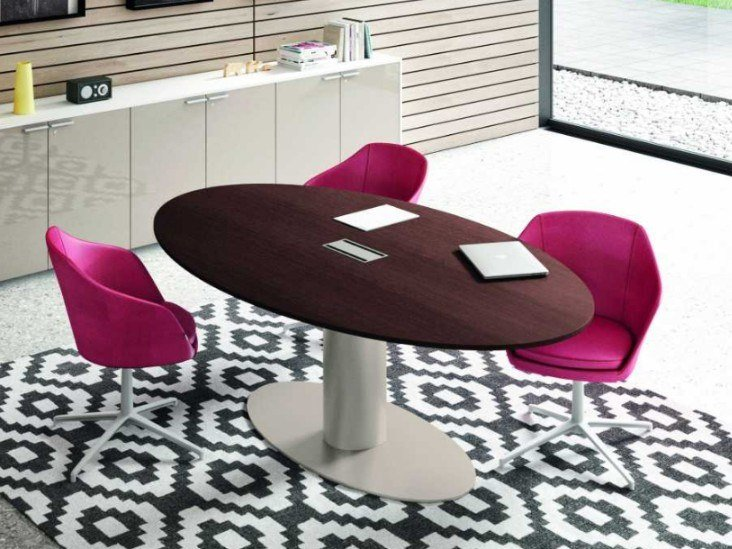 Oval meeting table with cable management TAKE OFF EVOLUTION EVO | Meeting table by Bralco