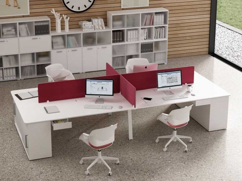 Office workstation with shelves with cable management TAKE OFF EVOLUTION EVO   Multiple office workstation by Bralco