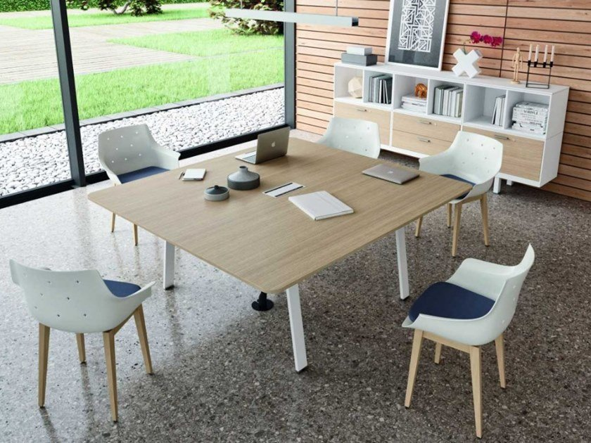 Meeting table with cable management TAKE OFF EVOLUTION EVO | Rectangular meeting table by Bralco