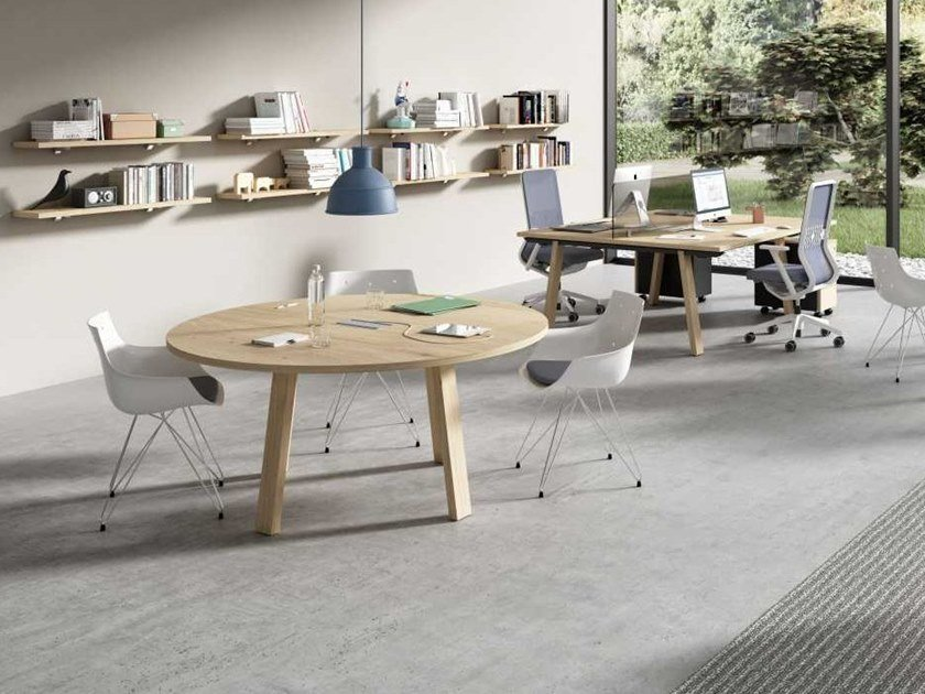 Meeting table with cable management TAKE OFF EVOLUTION FARM | Round meeting table by Bralco