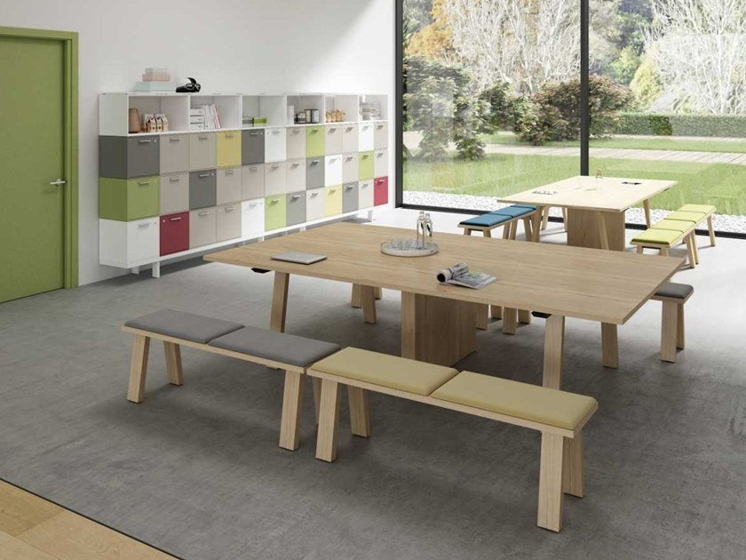 Rectangular melamine-faced chipboard table TAKE OFF EVOLUTION FARM | Table by Bralco