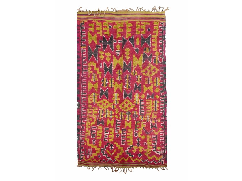 Patterned long pile rectangular wool rug TALSENT TA822BE by AFOLKI