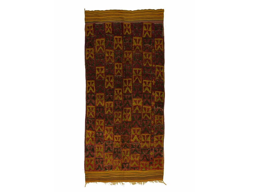 Patterned long pile rectangular wool rug TALSENT TAA1017BE by AFOLKI