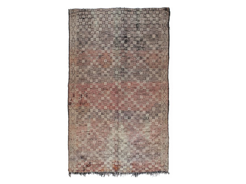 Patterned long pile rectangular wool rug TALSENT TAA1174BE by AFOLKI