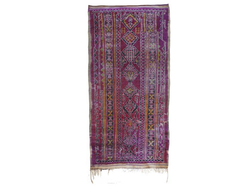 Patterned long pile rectangular wool rug TALSENT TAA1181BE by AFOLKI