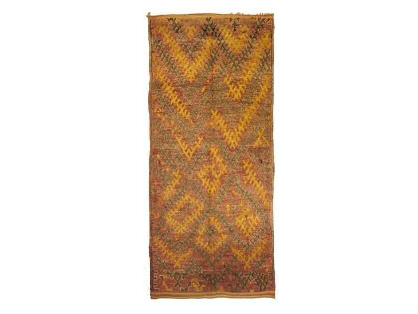 Patterned long pile rectangular wool rug TALSENT TAA1234BE by AFOLKI