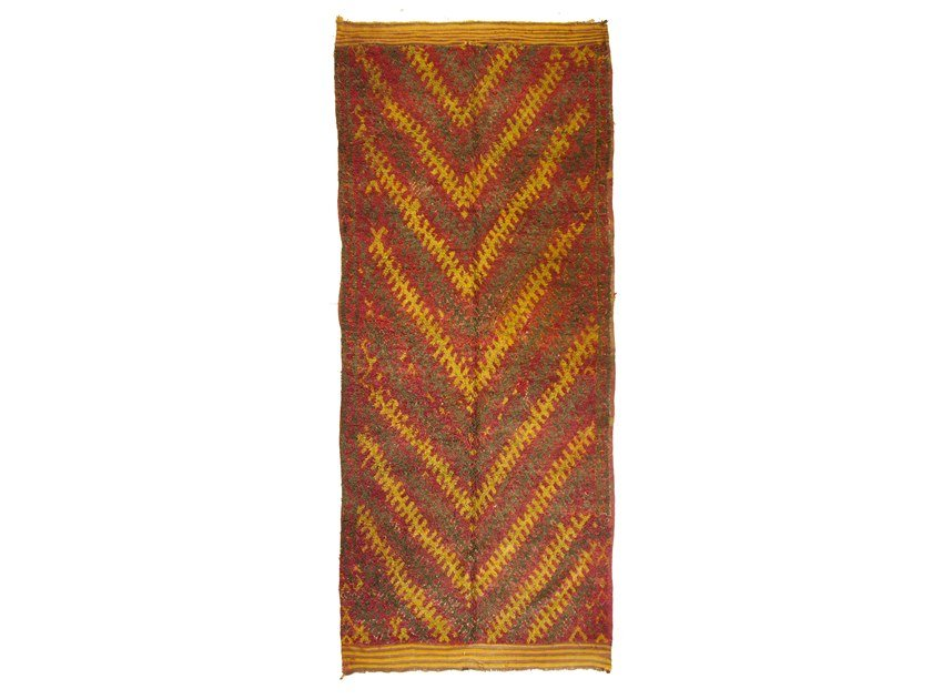 Patterned long pile rectangular wool rug TALSENT TAA1241BE by AFOLKI