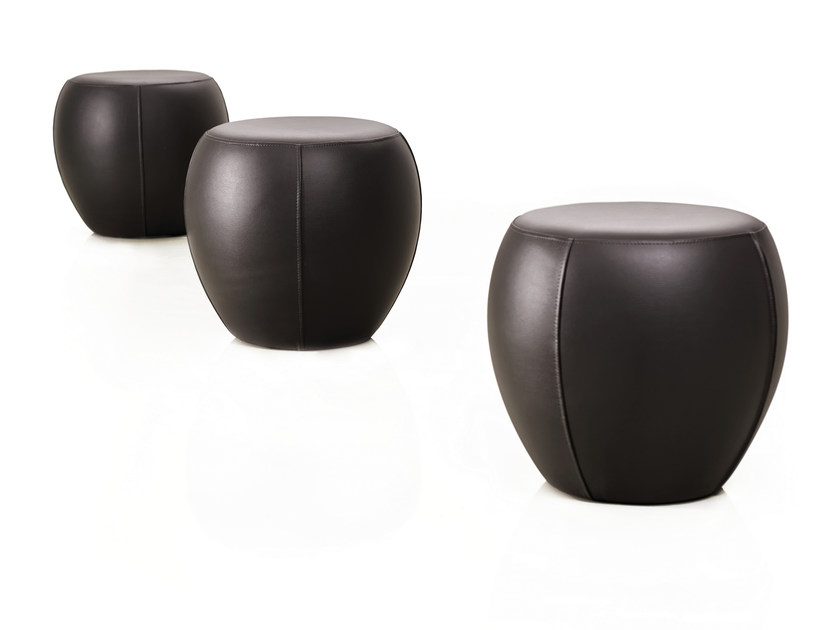 Upholstered round leather pouf TAM TAM by Papadatos