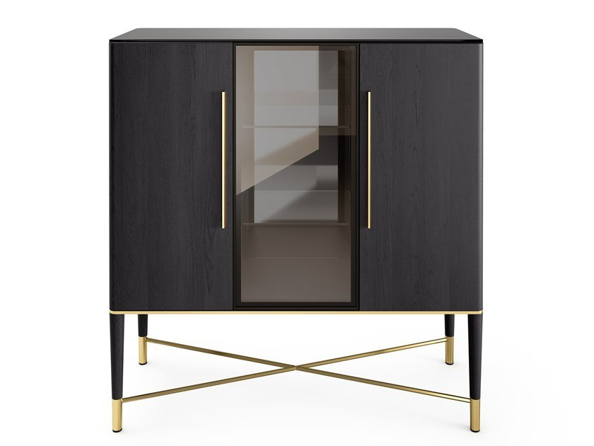Wooden and crystal display cabinet with integrated lighting TAMA | Display cabinet by Gallotti&Radice