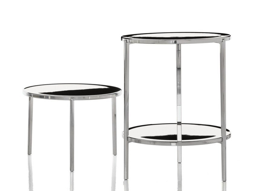 Low round aluminium coffee table TAMBOUR | Coffee table by Magis