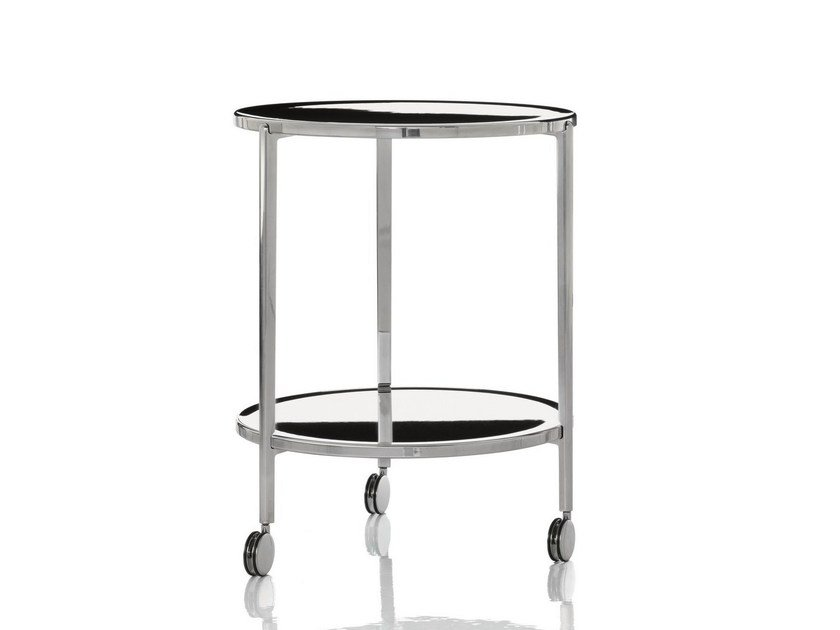 Low aluminium coffee table with casters TAMBOUR | Coffee table with casters by Magis
