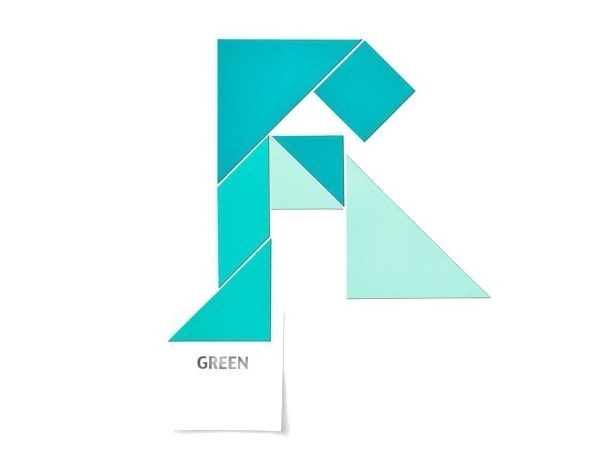 Magnet TANGRAM SHADES OF GREEN by Groovy Magnets