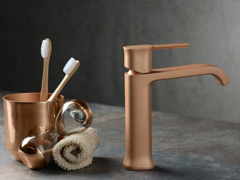 Miscelatore per lavabo da piano monocomando TAORMINA FROSTED ROSE GOLD by RITMONIO