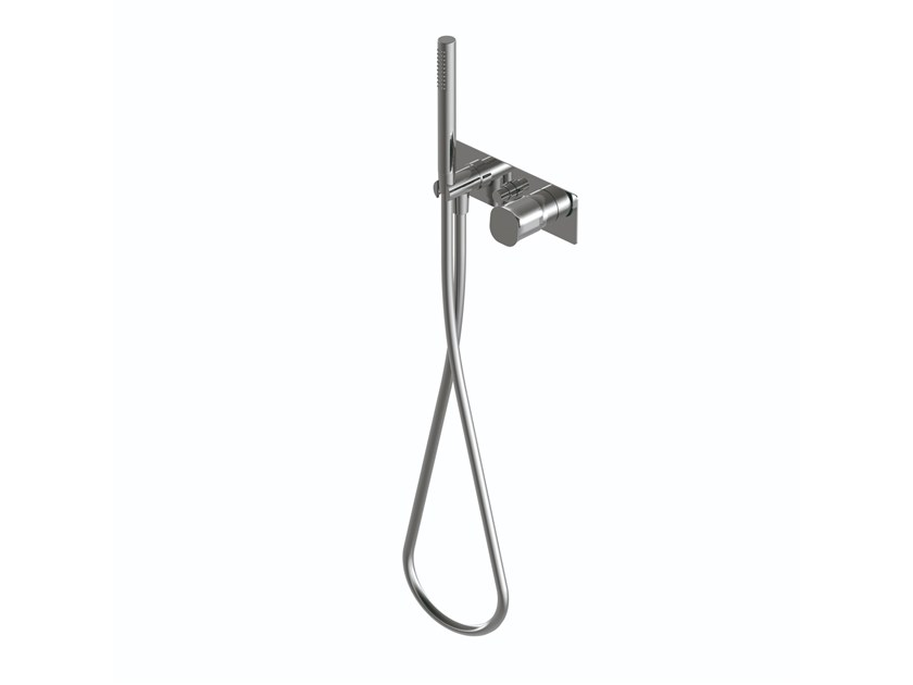 Contemporary style metal shower mixer with diverter with hand shower with flexible hose TAORMINA | Shower mixer with hand shower by RITMONIO