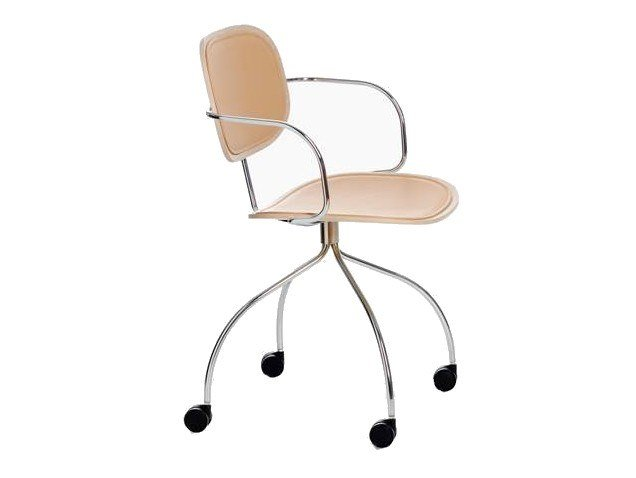 Wooden task chair with castors MAGENTA | Task chair by IOC