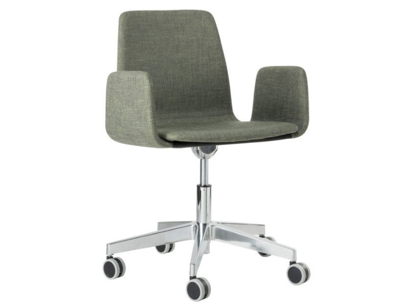 Fabric task chair with 5-Spoke metal base with armrests TECLA SB01 BASE 23 by New Life
