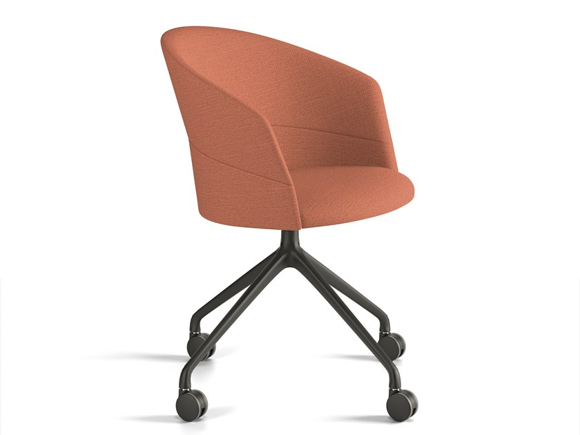 Upholstered trestle-based chair with castors COPA | Chair with castors by Viccarbe