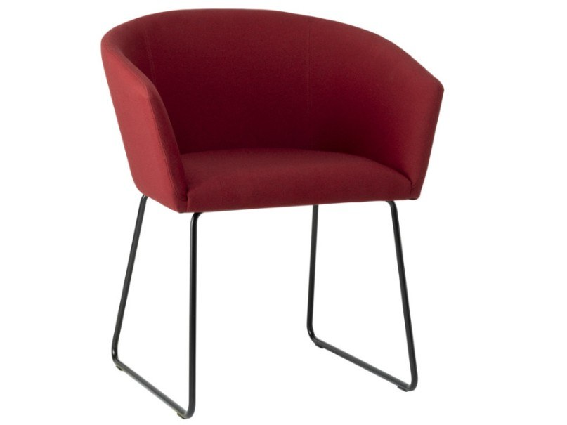 Sled base fabric chair with armrests and metal base TATI PO01 BASE 20 by New Life
