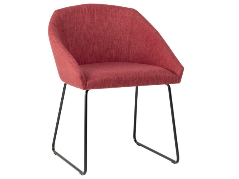 Sled metal base upholstered fabric chair TATI SE01 BASE 20 by New Life